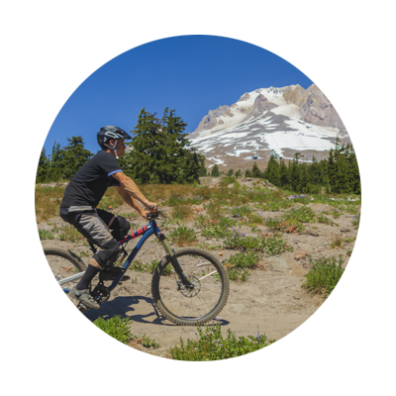 mountain biking at Timberline Lodge on mount hood