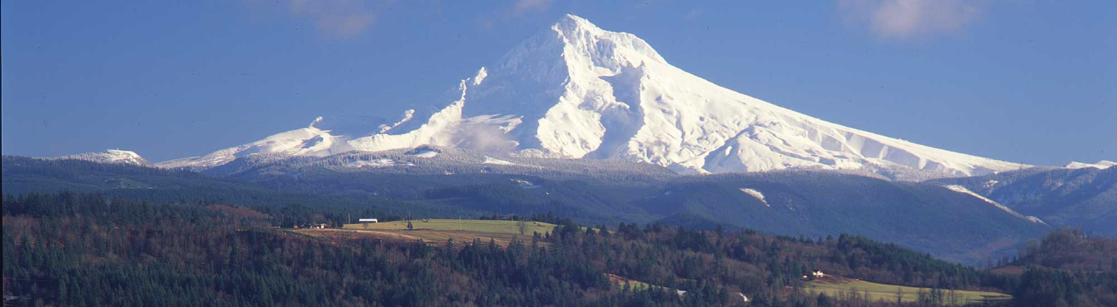 View from Jonsrud Viewpoint in Sandy of farmlands and forest with snow covered Mt. Hood filling the blue skyline.