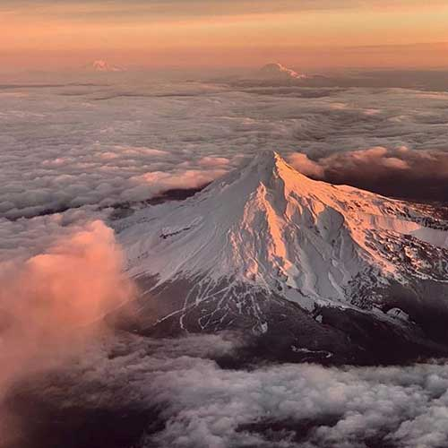 Mt. Hood at sunrise from the air