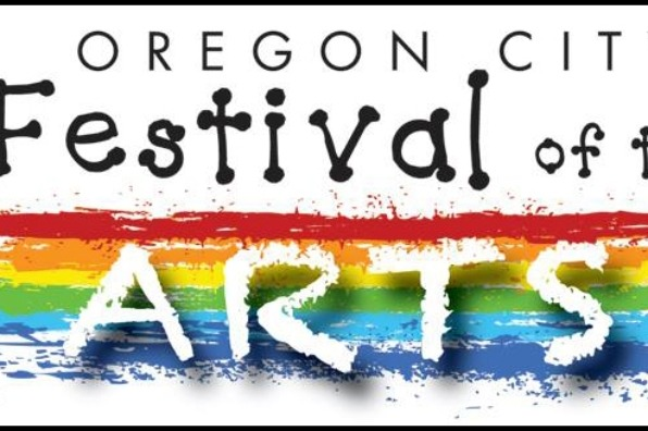 White background logo sign for Oregon City Festival of ARTS with a rainbow of colors behind the word ARTS.