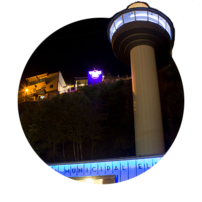 Lighted nighttime view of Oregon City's 130 ft. elevator which is one of only four municipal elevators operating in the world