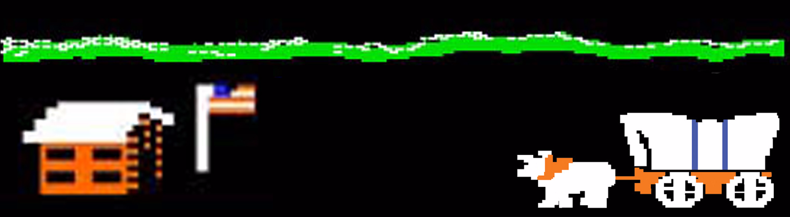 Rectangular header shot of Oregon Trail video game image of oxen team pulling covered wagon approaching a fort flying US flag