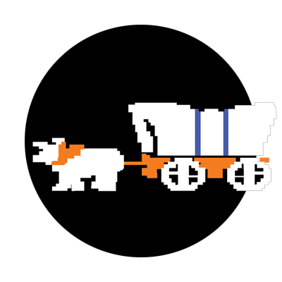 Oxen team pulling covered wagon image from Oregon Trail video game framed in a black circle