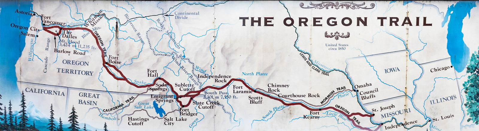 Wide map of the Oregon Trial with callouts and route marked in red from Independence, Missouri start to Oregon City, Oregon