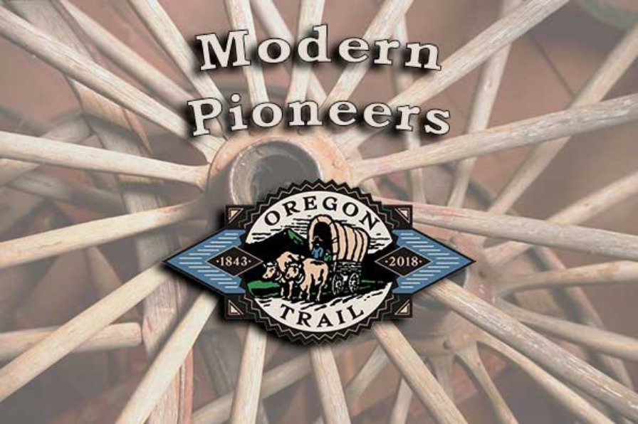 Modern Pioneers with the Oregon trail 1843-2018 logo superimposed over photo of pioneer wagon wheels
