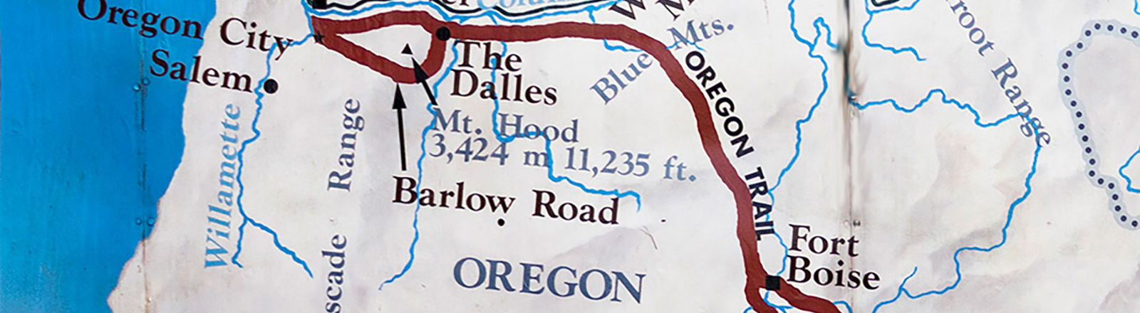 Map of Oregon Trial through Oregon and Idaho with route marked in red