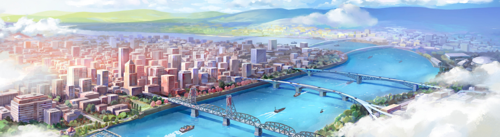 Animated view of downtown Portland featuring 4 bridges with boats on the Willamette River and white clouds covering eastside
