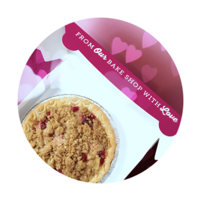 Berry pie with crumble crust in box from Kyra's Bake Shop in Lake Oswego in Oregon's Mt. Hood Territory
