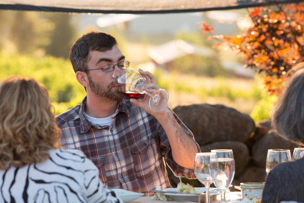 Savoring the wine, farm to table dinner