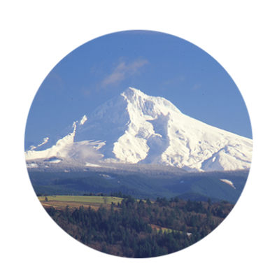 Snow-covered Mt. Hood pops against the bright blue sky with Cascade foothills in forefront as seen from Jonsrud Viewpoint.