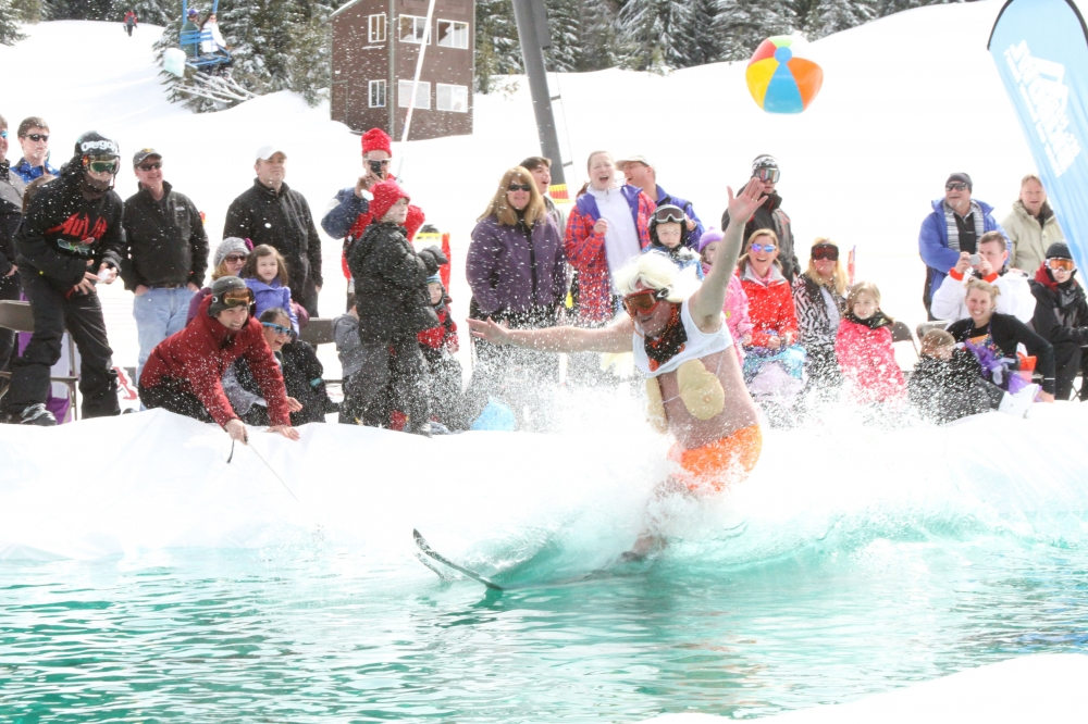 Pond Skim event on the water at Mount Hood Ski Bowl in Oregons Mount Hood Territory