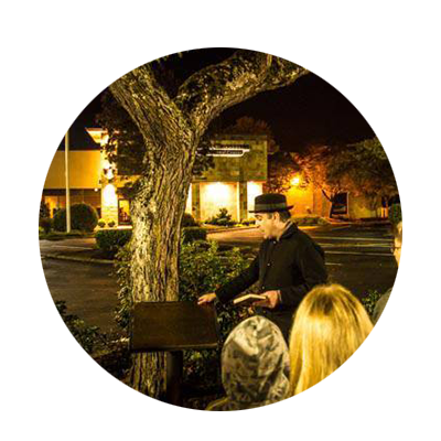 Rocky Smith, local historian and paranormal investigator leads a group on a night tour of spooky sites in Oregon City.