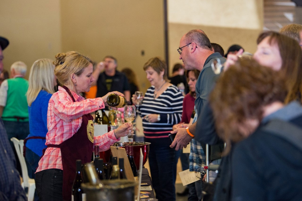 Taste. Learn. Celebrate. Event. St. Josefs Winery pouring at the launching of wine month in Oregon including Mt. Hood Territory wineries