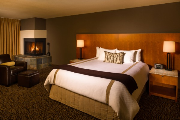 Cozy Fireside King Bed Studio room at Mt Hood Oregon Resort in Welches in Oregon's Mt. Hood Territory