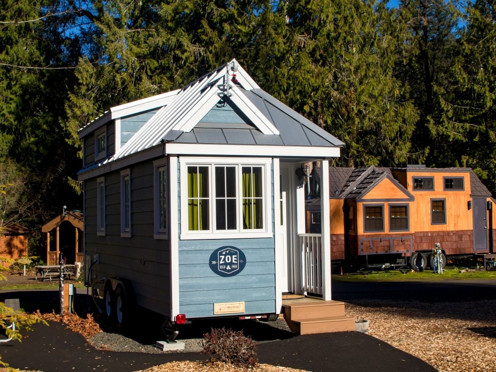 Blue and white Zoe Tiny Home in Mt. Hood Tiny House Village in Oregons Mount Hood Territory.