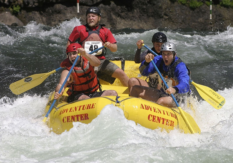 Competitors go all out in the rafting competition during the Upper Clackamas Whitewater Festival in Estacada in Oregons Mt. Hood Territory.