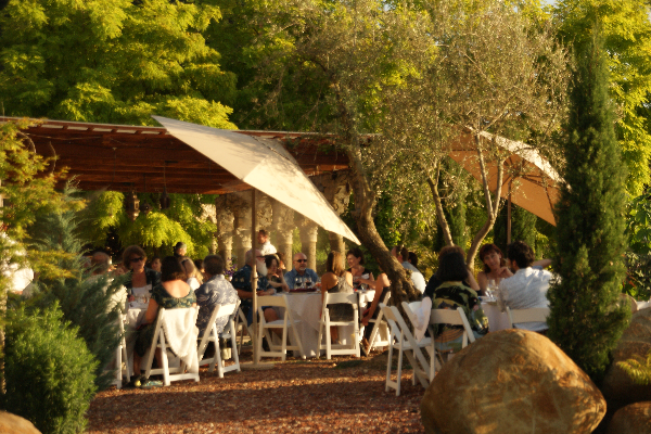 people sit at fancy tables under umbrellas in a lush green garden