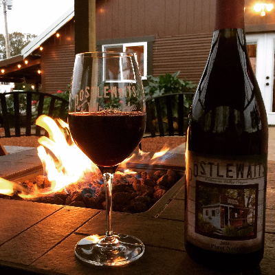 whiskey hill winery with fire pit