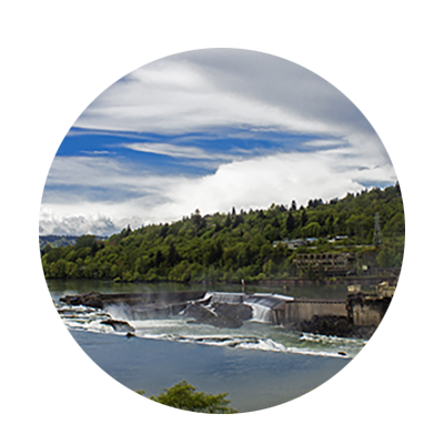 Water flows over Willamette Falls on the Willamette River between Oregon City and West Linn.