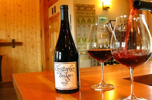 A favorite stop when wine tasting in Mt. Hood Territory is the tasting room at Christopher Bridge Cellars with a nice pinot noir in Oregon City