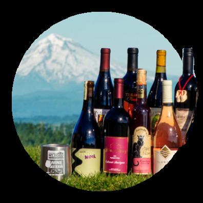 Wines from vineyards in Oregon's Mt. Hood Territory and Mt. Hood Territory stainless wine glass with Mt. Hood in background.
