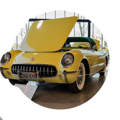 1955 yellow corvette idea circle